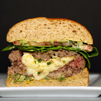 Burgers stuffed with Spicy Scallion and Brie